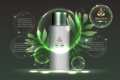 Green natural cosmetics advertisement vector