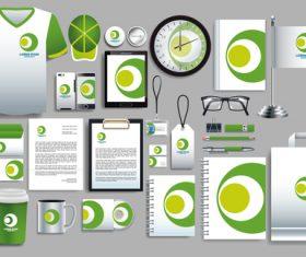 Green stationery set vector