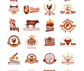 Grill barbecue badges stickers emblems vector