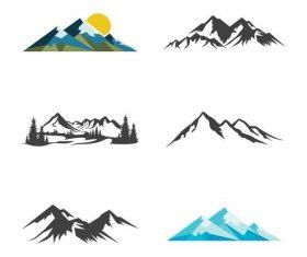 Hand drawn mountain logo vector