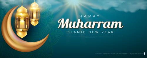 Happy Muharram Islamic Greeting Card vector