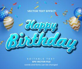 Happy birthday vector editable text effect