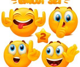 Happy emoticon set vector