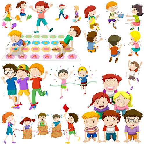 Happy game cartoon illustration vector