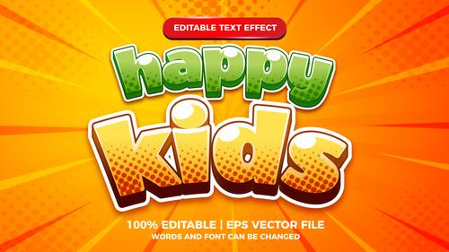 Happy kids cartoon comic text effect vector