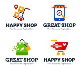 Happy shop logo design vector