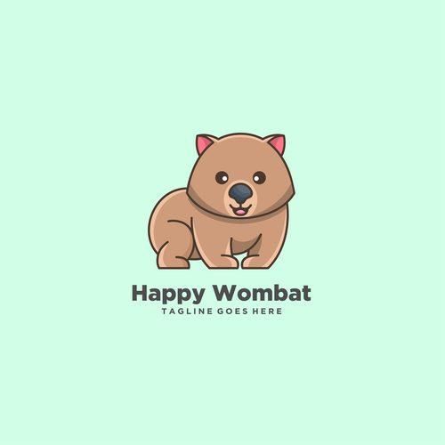 Happy wombat icon vector