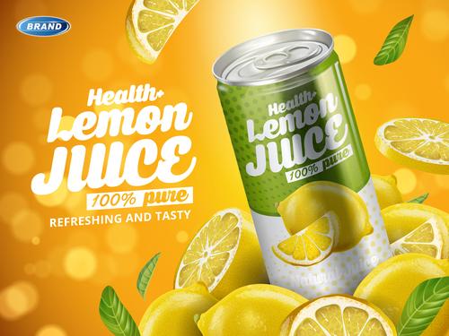 Health lemon soft drink ad vector
