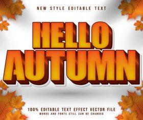 Hello autumn 3D emboss cartoon style vector