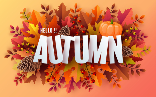 Hello autumn background card vector