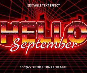 Hello september editable text effect retro style vector