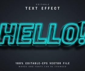 Hello text blue neon text effect editable vector
