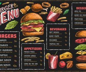 Horizontal menu template with burger fries vector
