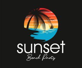 Hot beach party logo vector