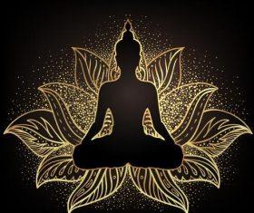 Illustration vector of Sakyamuni sitting on lotus