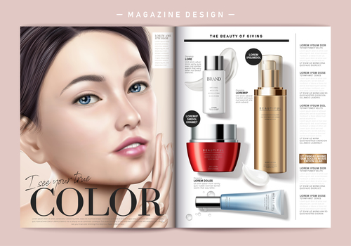 Introducing cosmetic magazine cover vector