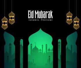 Islamic eid mubarak background vector