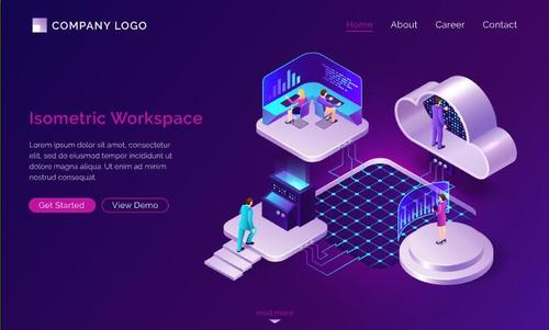 Isometric workspace card vector