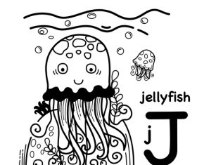 Jellyfish English word cartoon illustration vector