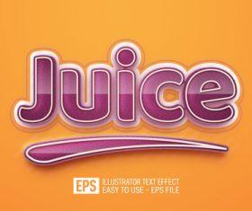 Juice text editable style effect vector