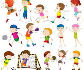 Kids doing sports vector