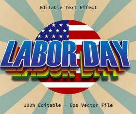 Labor Day modern style editable text effect vector