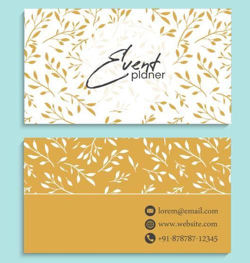 Leaf background business card vector