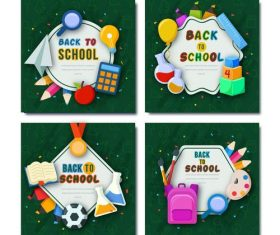 Learning utensils background back to school card vector