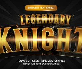Legendary knight vector editable text effect