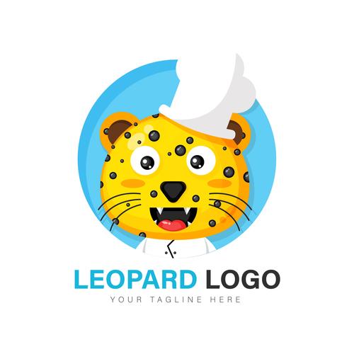 Leopard chef icon vector