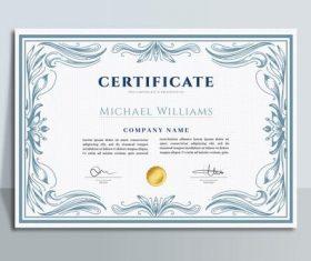 Light blue graduation certificate design template vector