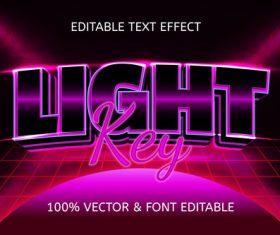 Light key style neon editable text effect vector