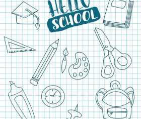 Line welcome back to school vector