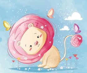 Lion and butterfly cartoon vector