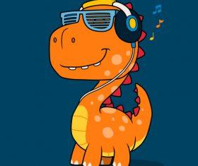 Listening to music dinosaur vector