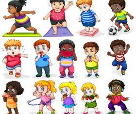 Little fat man lose weight cartoon illustration vector