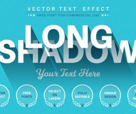 Long shadow vector text effect