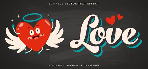 Love editable vector text effect vector