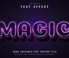 Magic text editable purple text effect vector