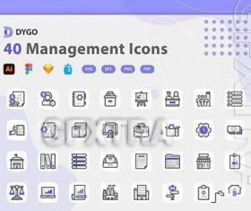 Management icon pack vector