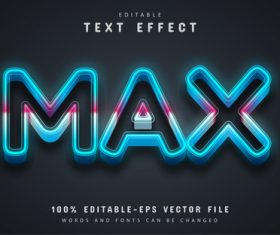 Max text blue neon text effect editable vector