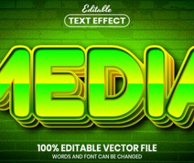 Media text font style vector