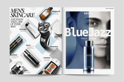 Mens skincare magazine cover vector