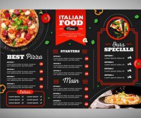 Modern restaurant menu pizza vector