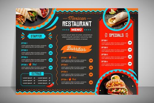 Modern restaurant menu taco vector