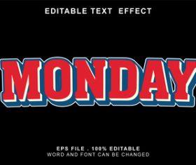 Monday vector editable text effect