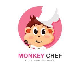 Monkey chef icon vector