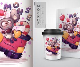 Monse cartoon sale mockup print t-shirt vector