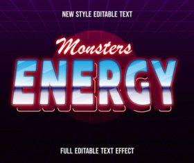 Monster energy new style editable text vector