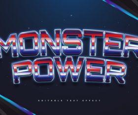 Monster power 3d editable text style effect vector